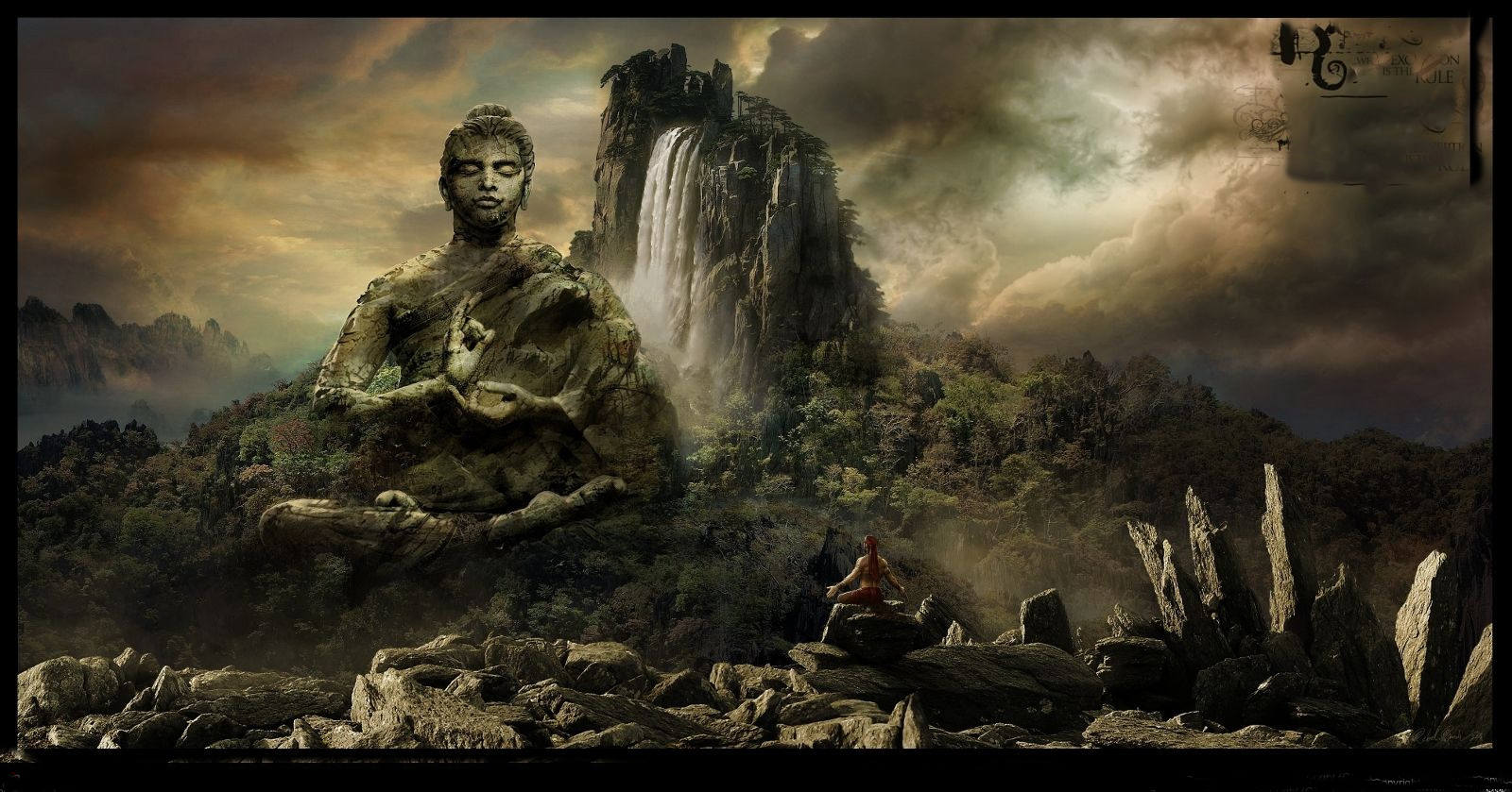 Buddha Wallpaper pictures HD waterfall mountain
