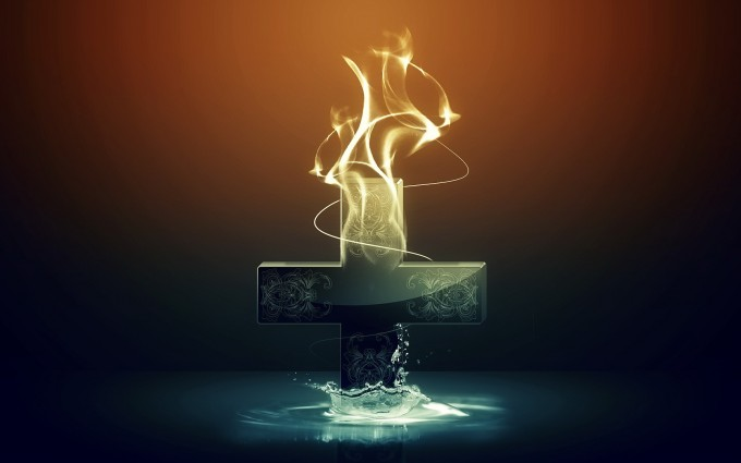 Jesus Wallpapers Images HD cross flames