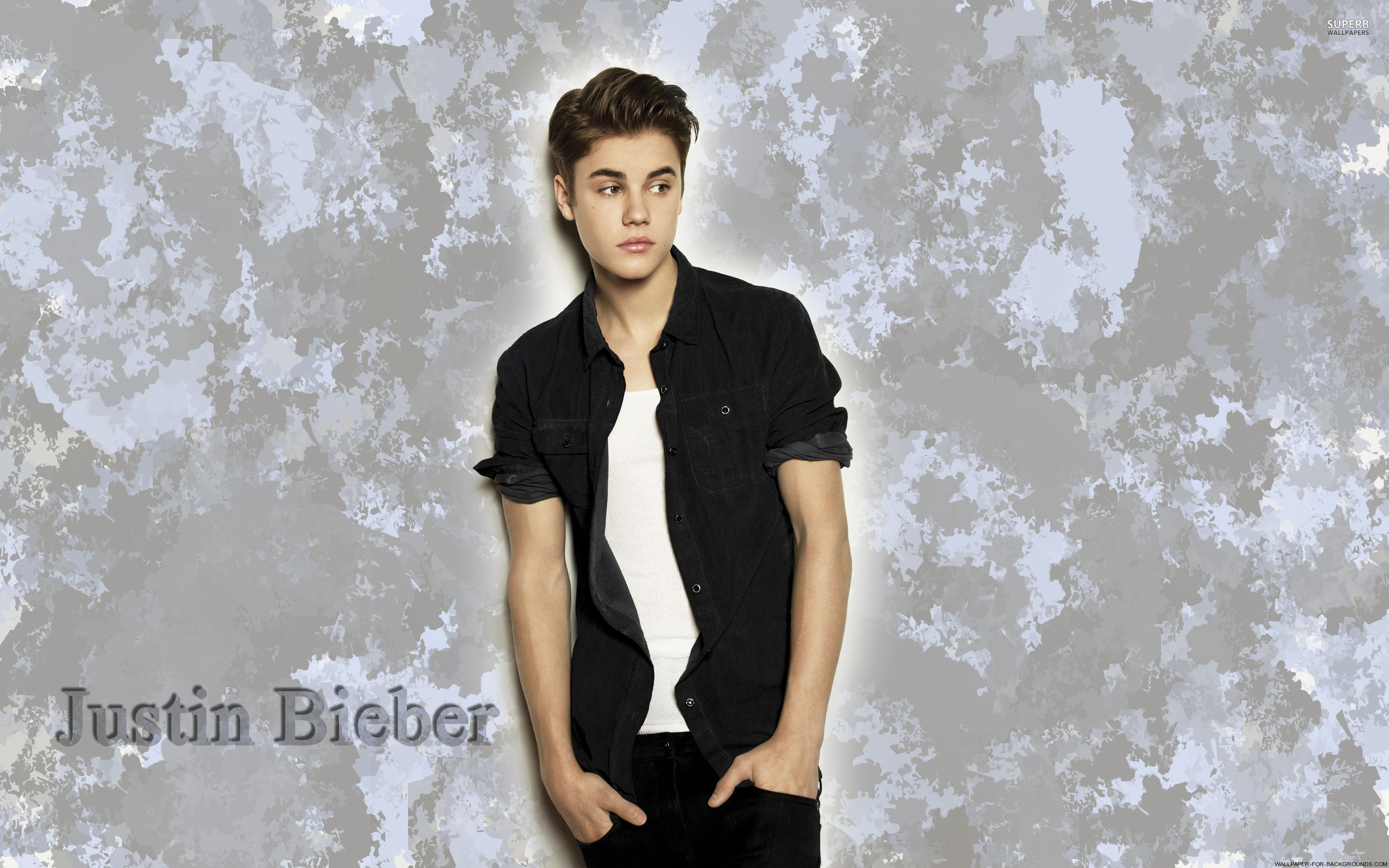 Justin Bieber Dark Background Wallpaper Wide Zoom