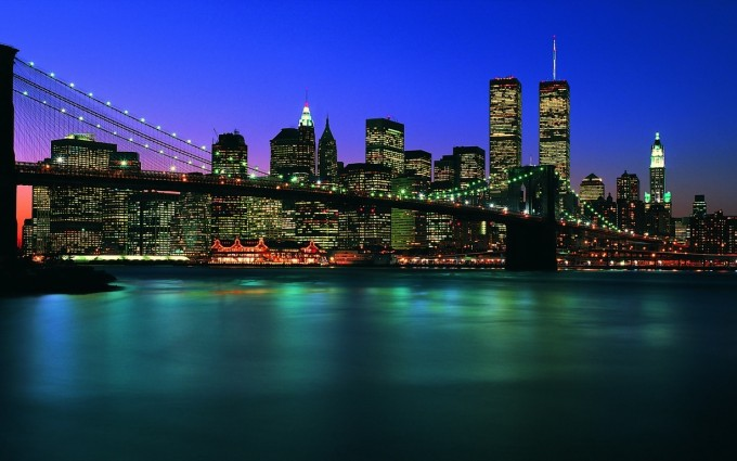 Free New York City Brooklyn Bridge panorama night lights USA America HD Desktop wallpapers backgrounds wall murals downloads A11