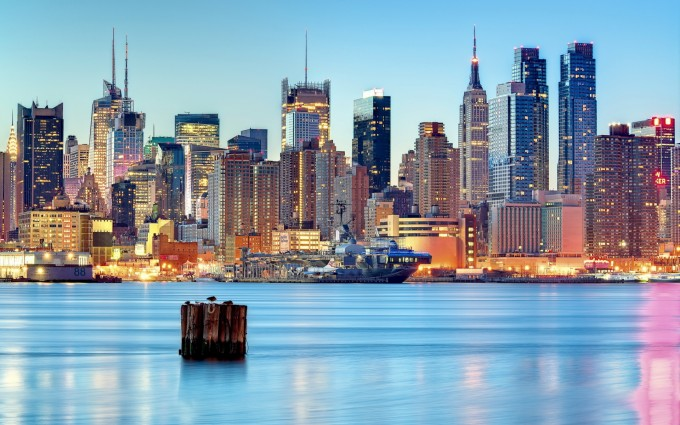 Free New York City skyline USA America skyline HD Desktop wallpapers backgrounds wall murals downloads A7