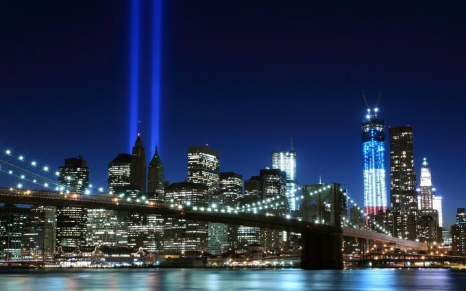Free New York City brooklyn bridge Night lights USA America HD Desktop wallpapers backgrounds wall murals downloads A9