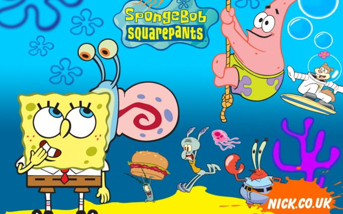 SpongeBob SquarePants wallpapers HD blue background with friends