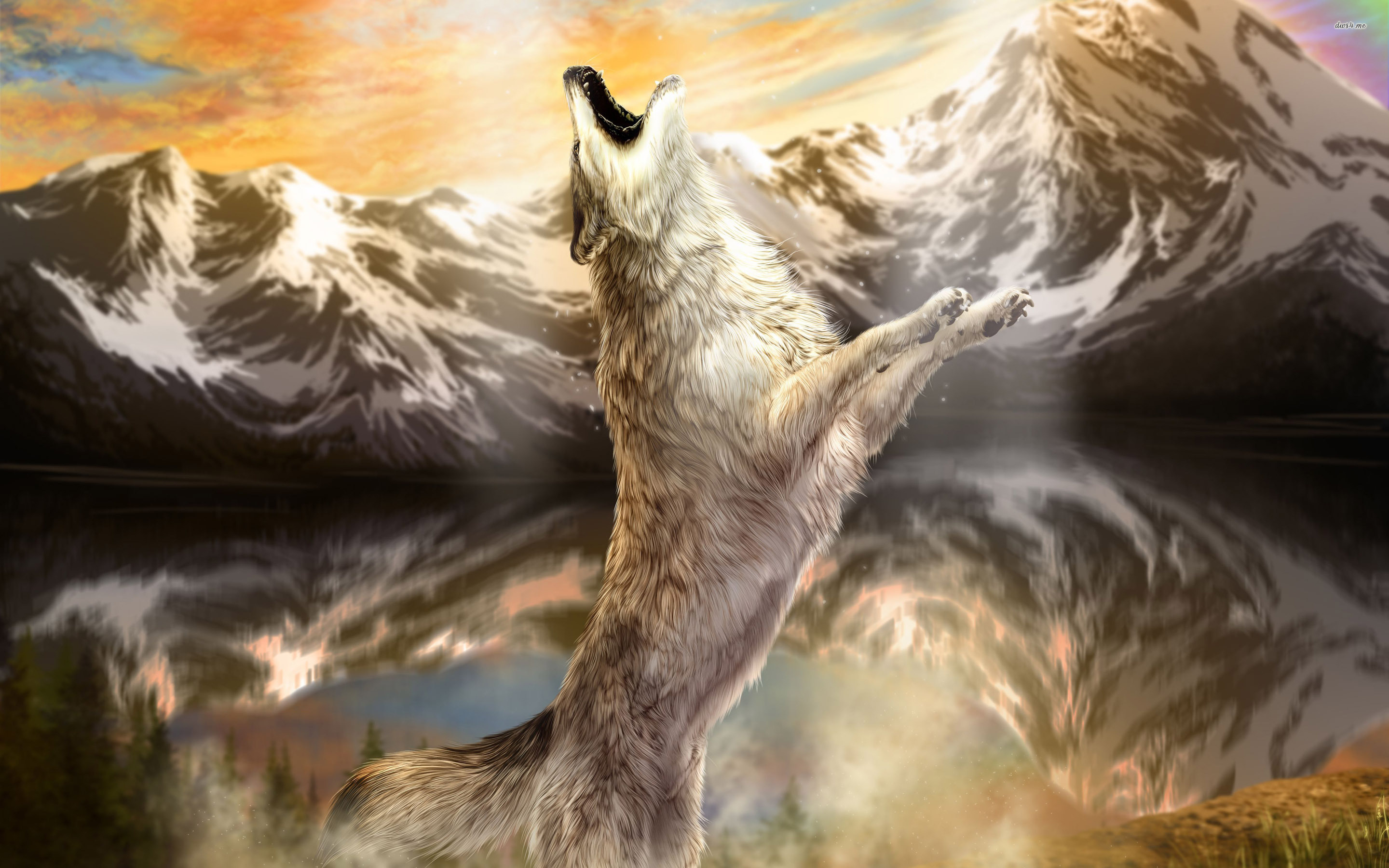 howling wolf wallpaper