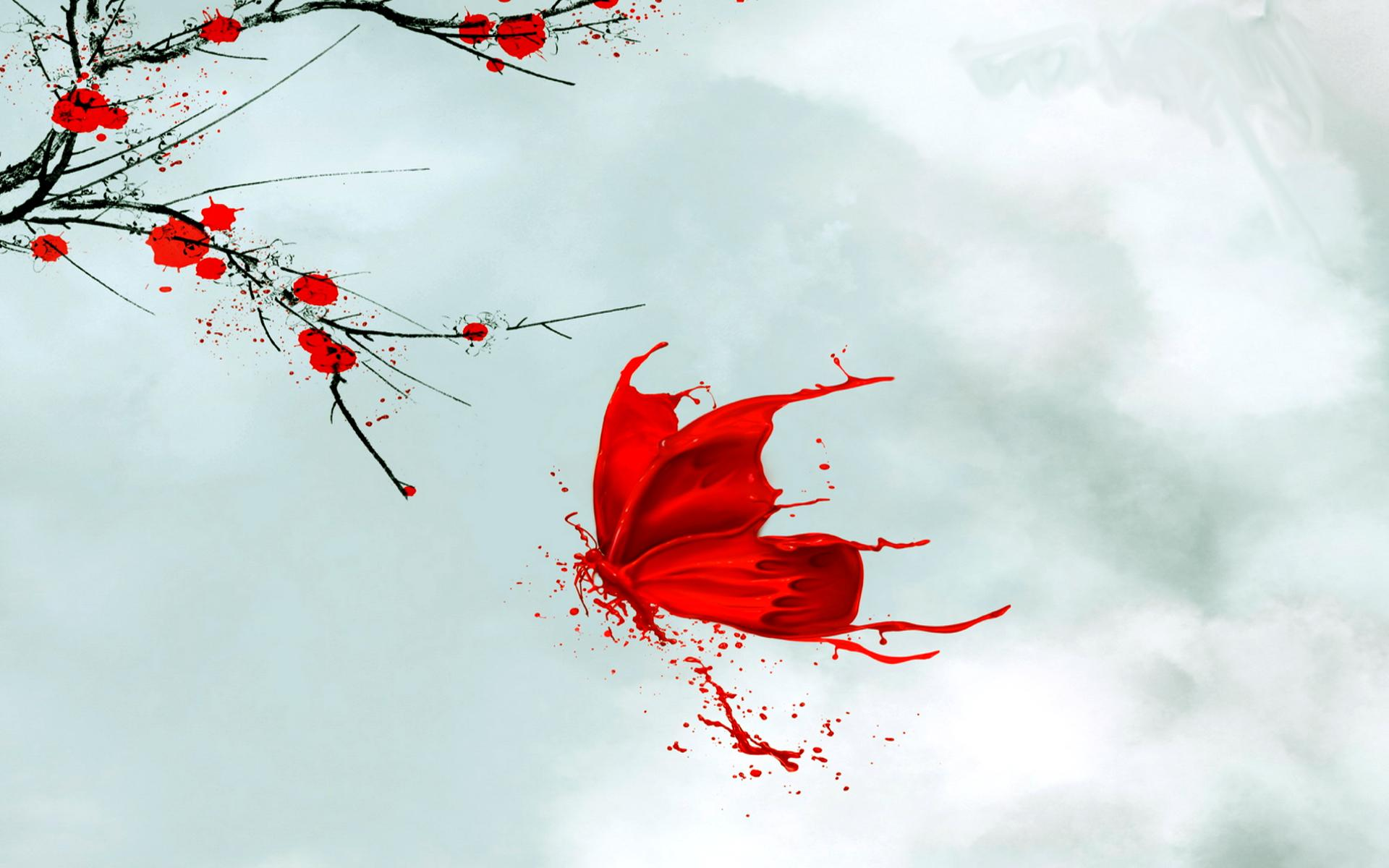 Red butterfly background - photo#28