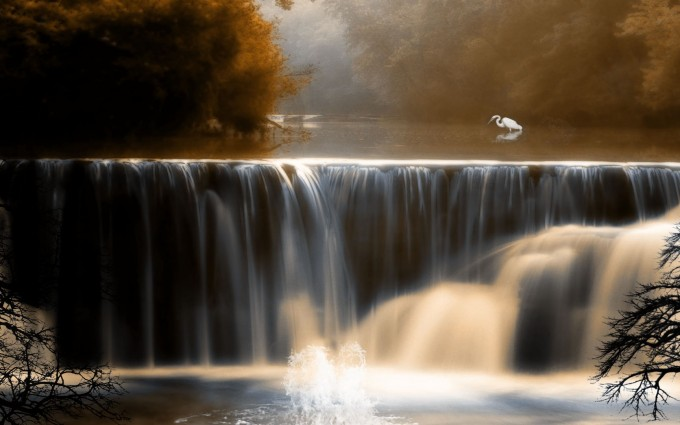 landscape wallpaper autumn waterfall