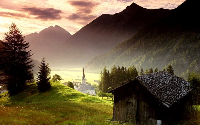 landscape wallpaper mountain houses