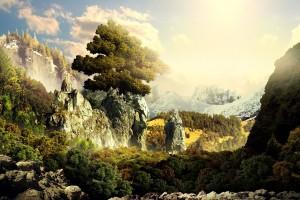 landscape wallpaper mountain trees
