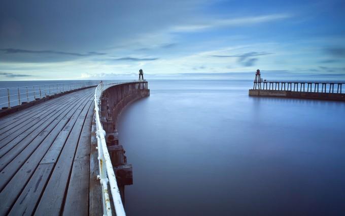 landscape wallpaper ocean bridge