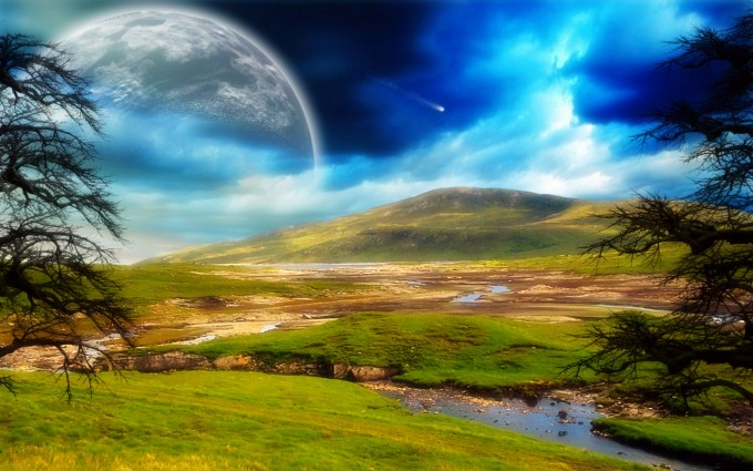 moon landscape wallpaper