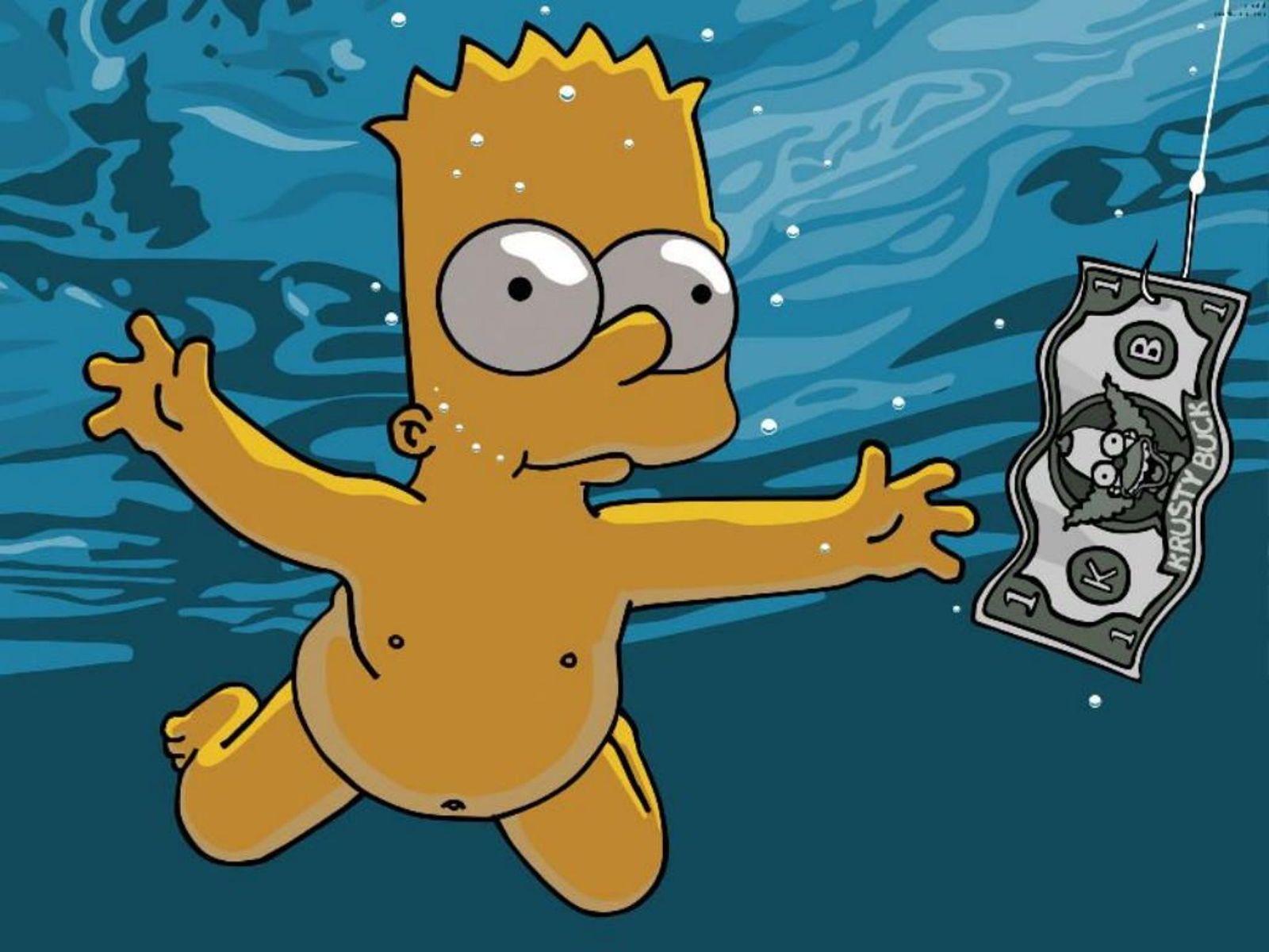 simpsons wallpaper bart swimming
