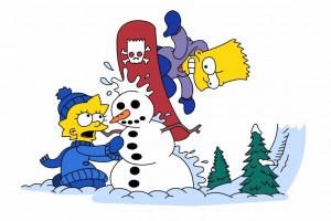 simpsons wallpaper christmas snow