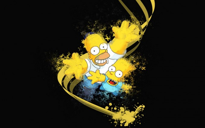simpsons wallpaper father son