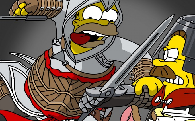 simpsons wallpaper fight