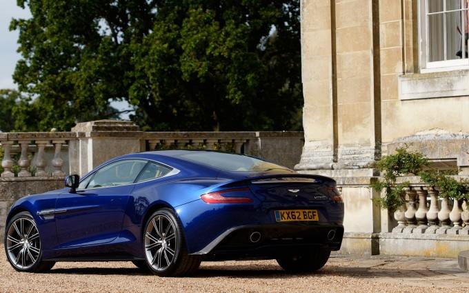 Aston Martin Vanquish blue parked