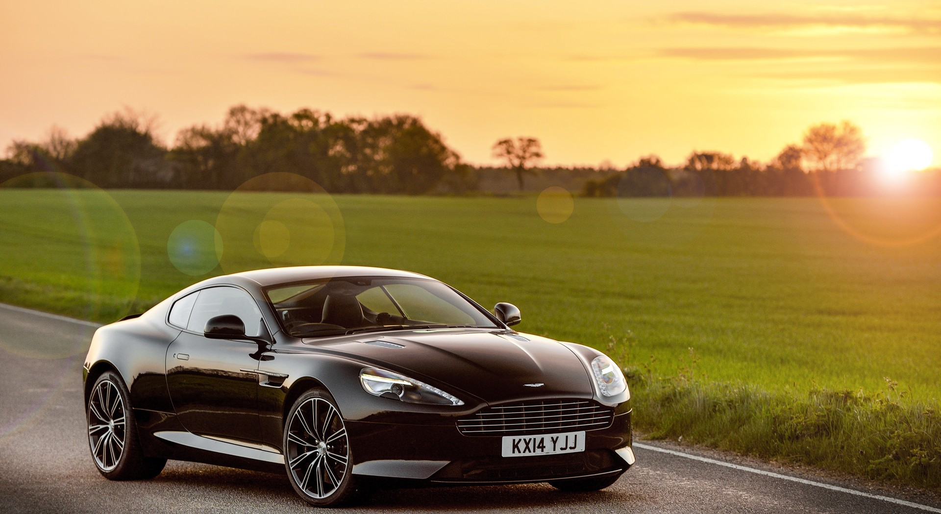 astin martin db9 wallpaper sunset