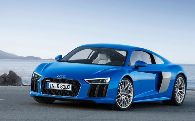 audi r8 e tron blue car