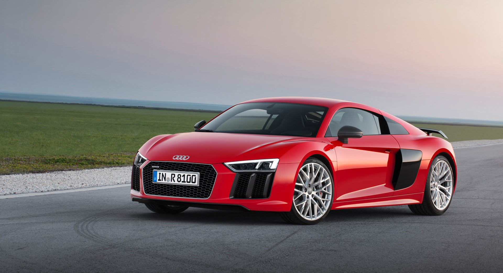 audi r8 v10 plus red front