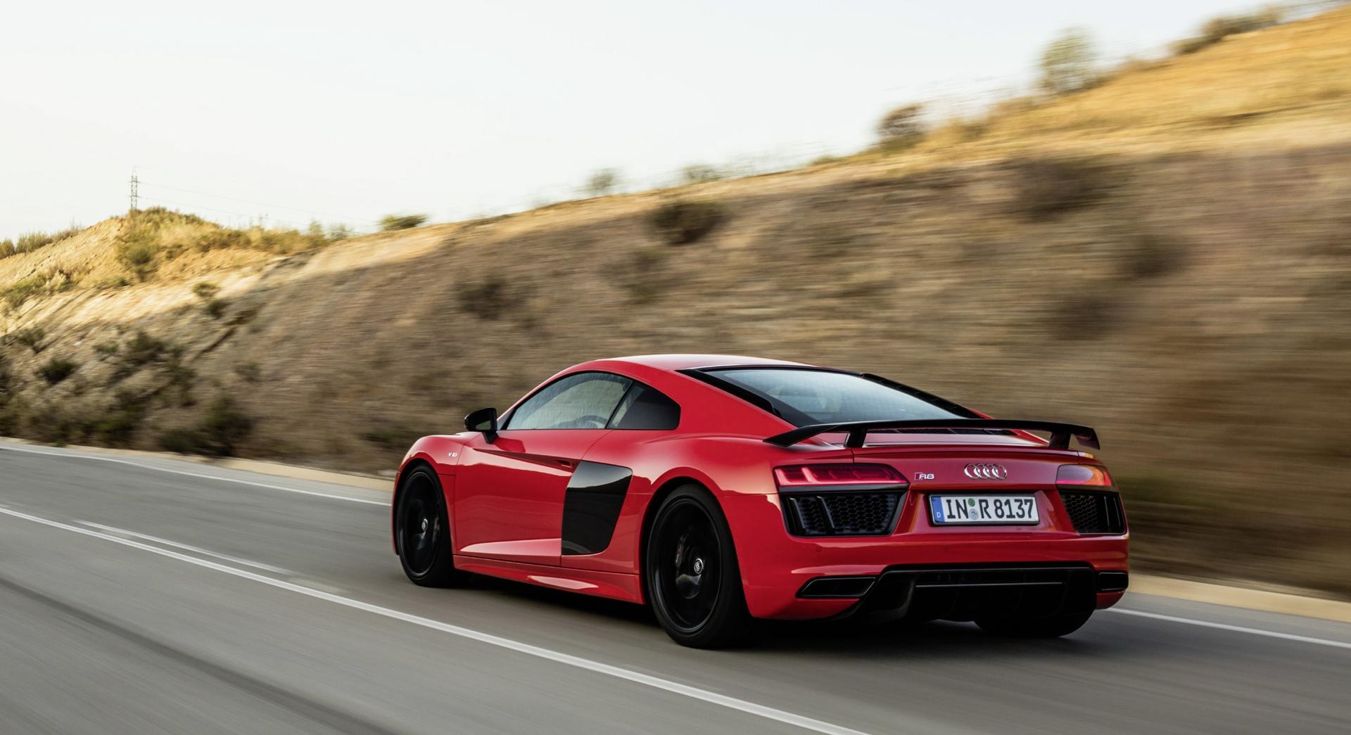 Audi R8 V10 Plus Red Road Hd Desktop Wallpapers 4k Hd