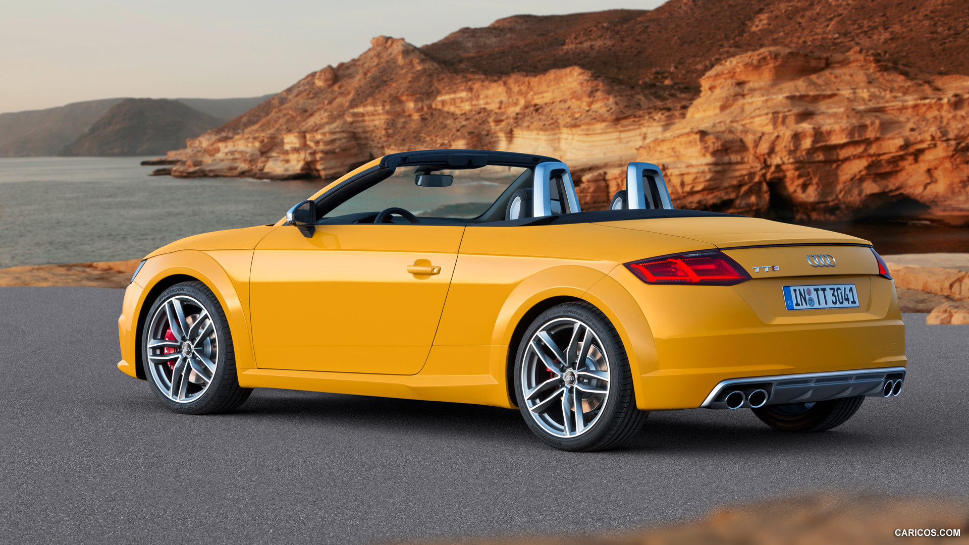 audi tt roadster yellow side 2