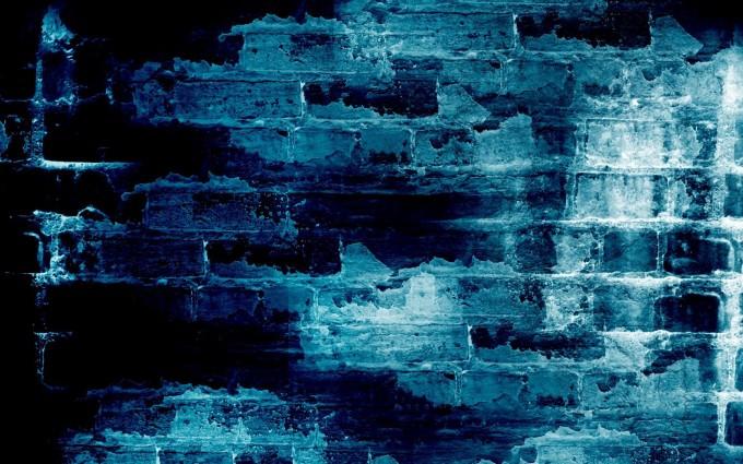 brick wallpaper blue