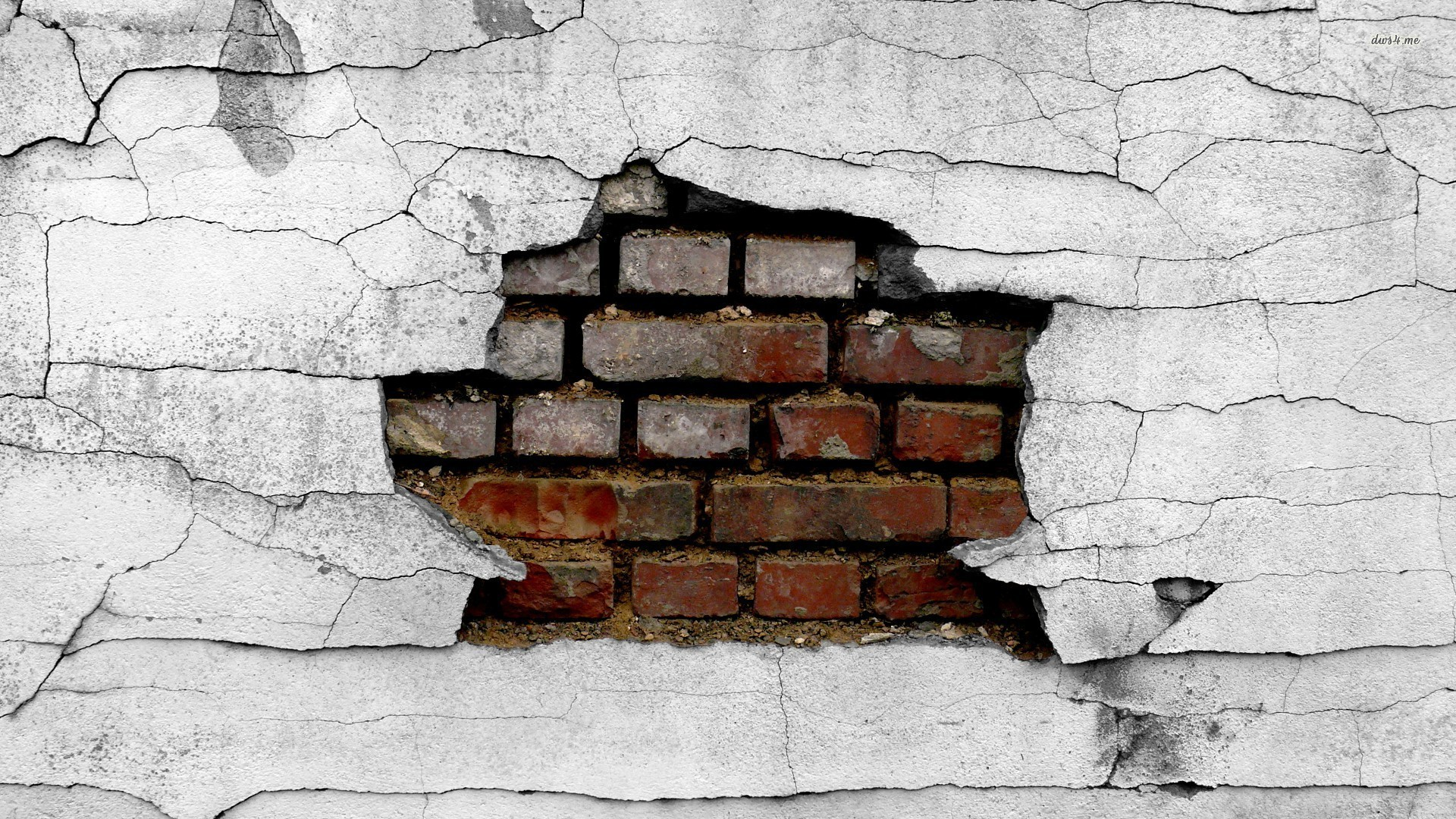 brick wallpaper cracked