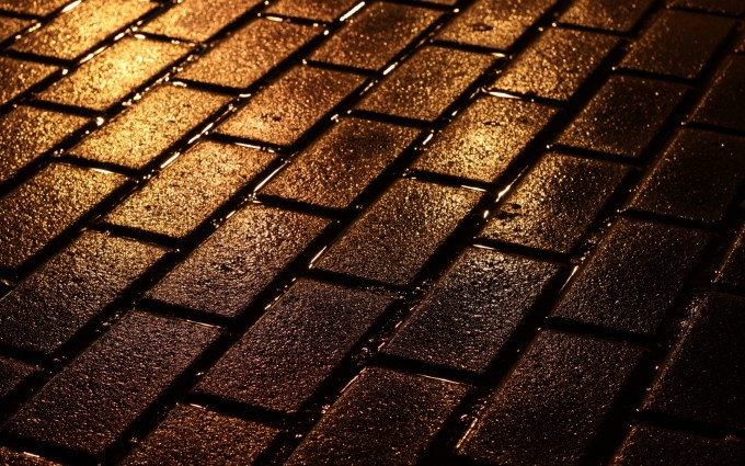 brick wallpaper wet