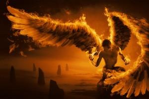 fire wallpaper angel man