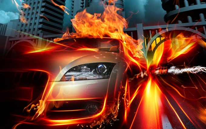 fire wallpaper car