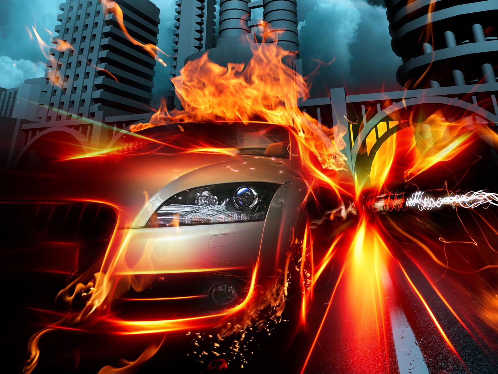 fire wallpaper car