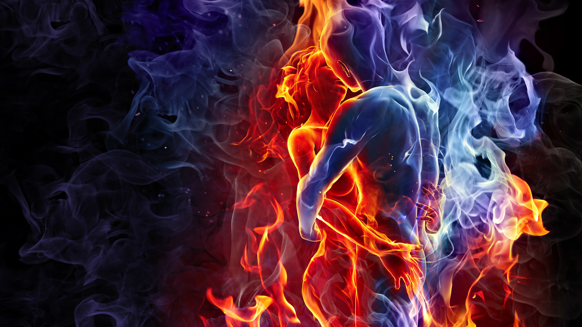 fire wallpaper couple love