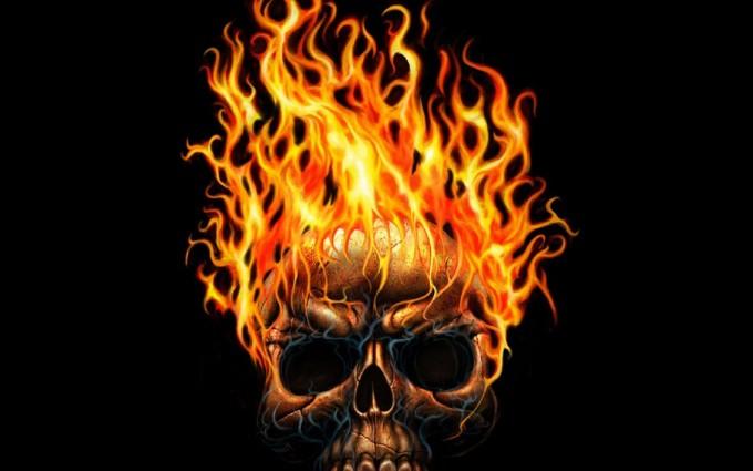 fire wallpaper skull