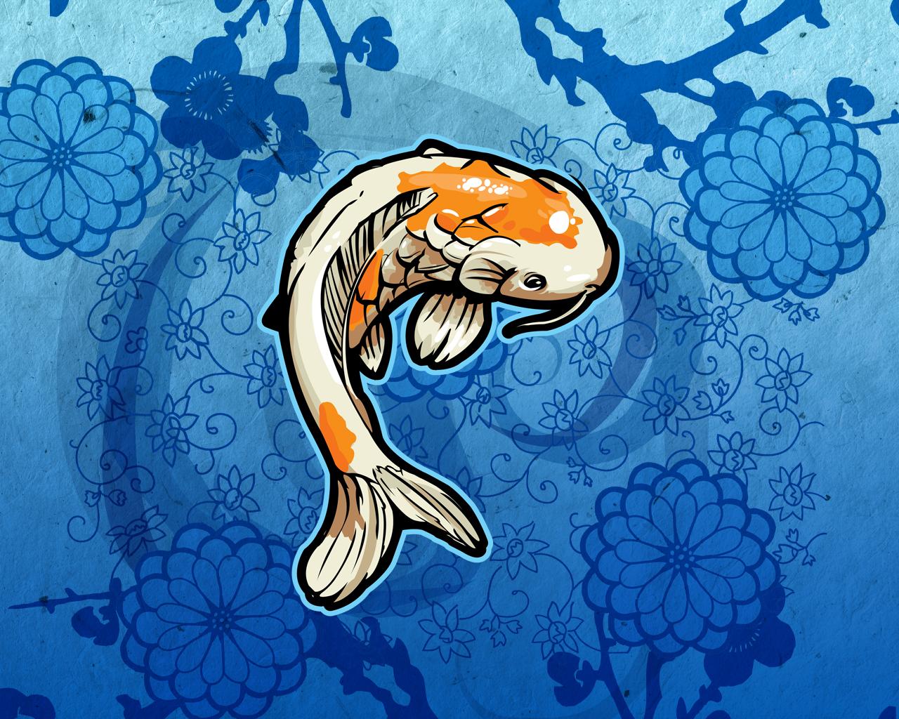 fish wallpaper orange