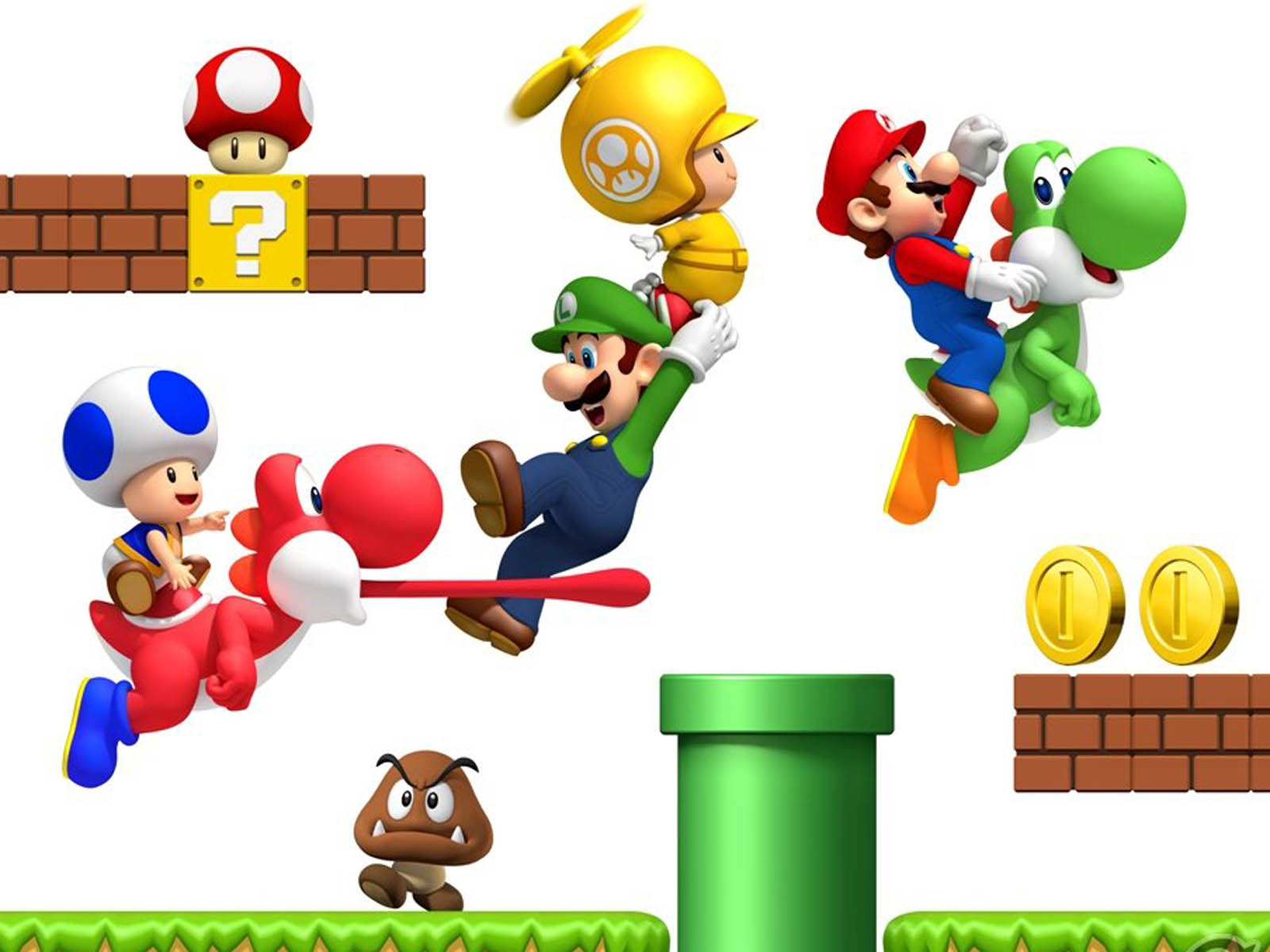 mario wallpaper green