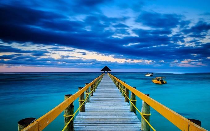 ocean wallpaper wooden bridge