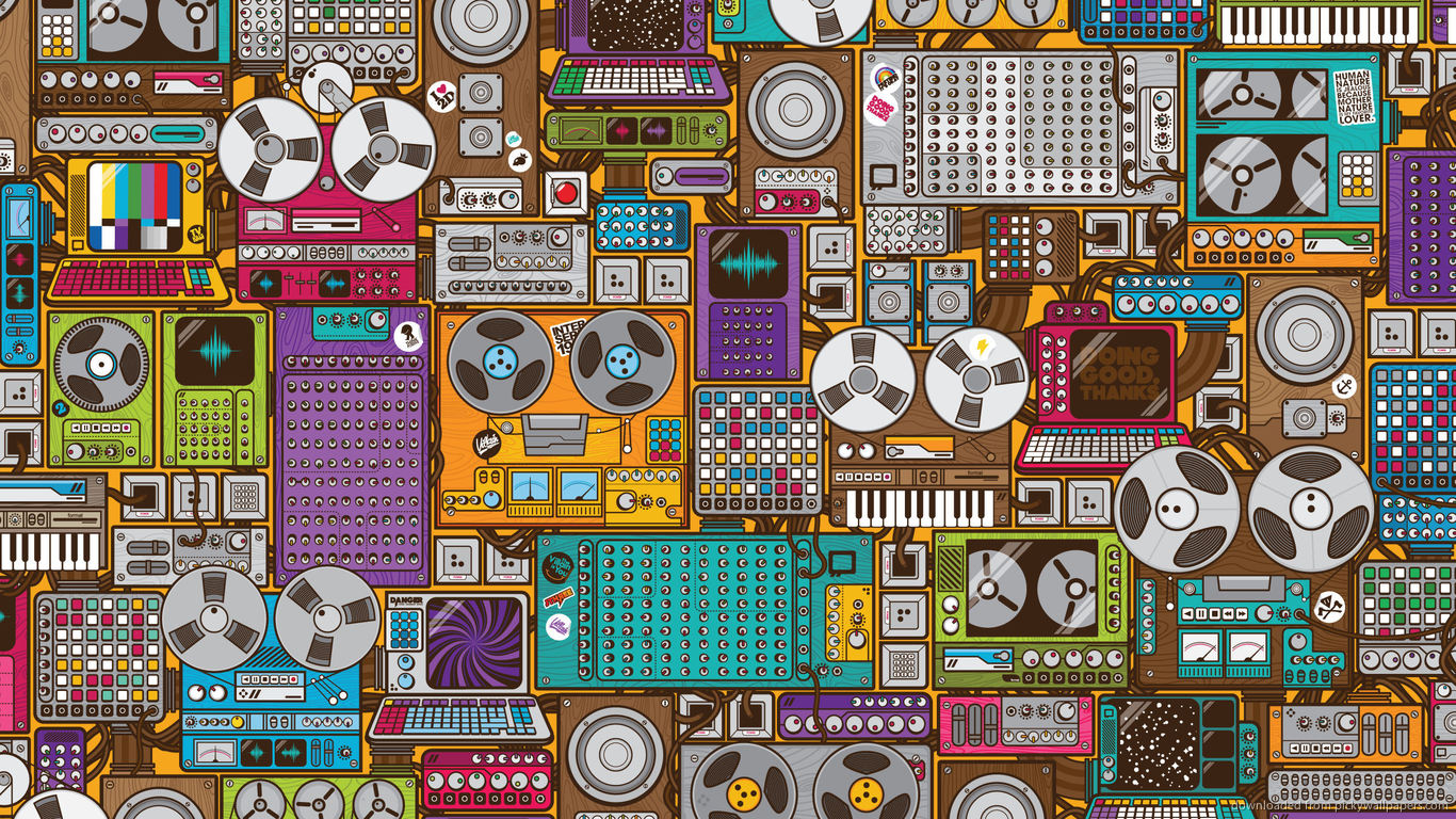 retro wallpaper music pattern