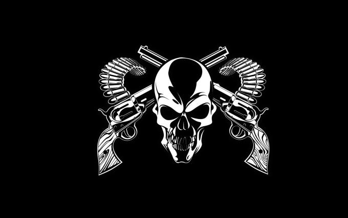 skull wallpapers gun