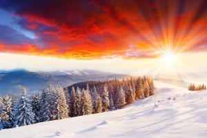 snow scene wallpaper sunset