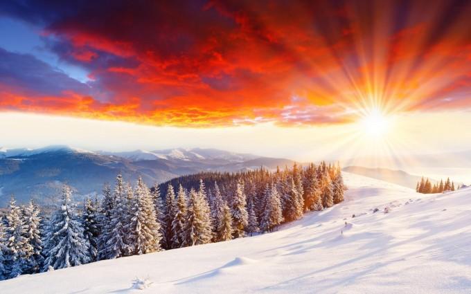 snow scene wallpaper sunset