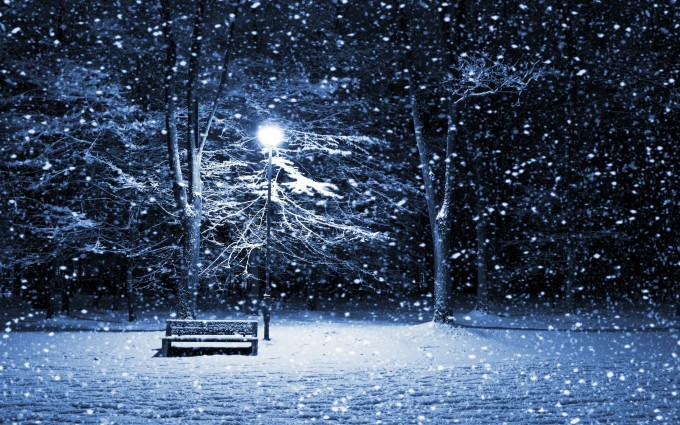 snow wallpaper bench
