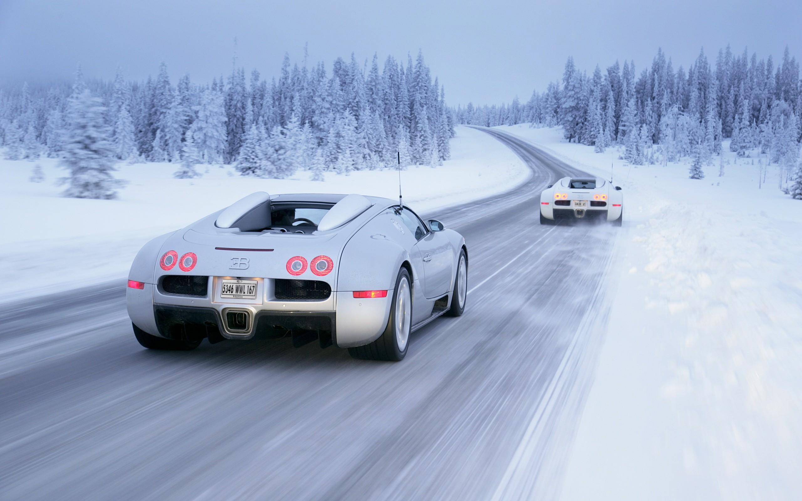 snow wallpaper bugatti