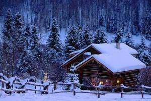 snow wallpaper hut