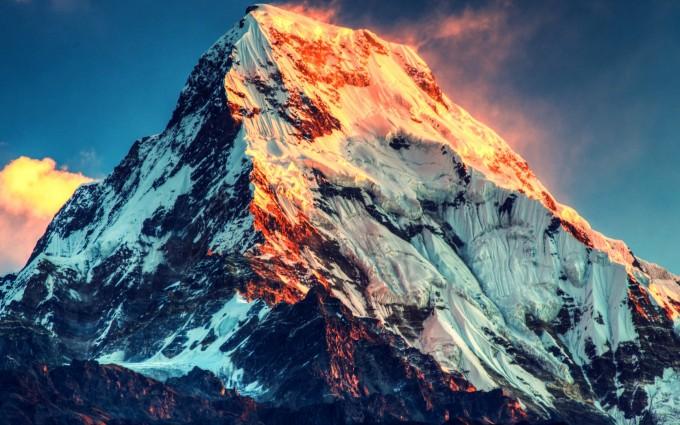 snow wallpaper mount everest sunset