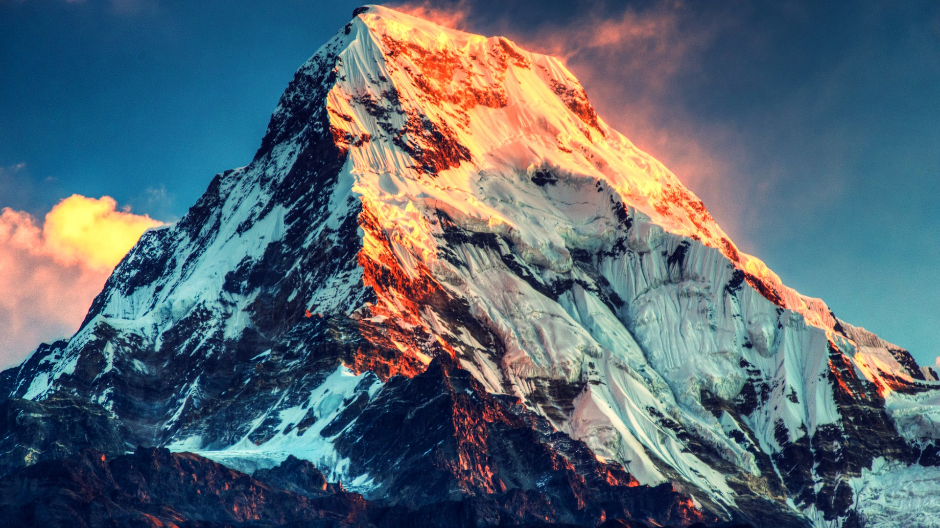 snow wallpaper mount everest sunset