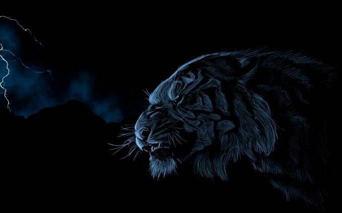 tiger wallpaper dark