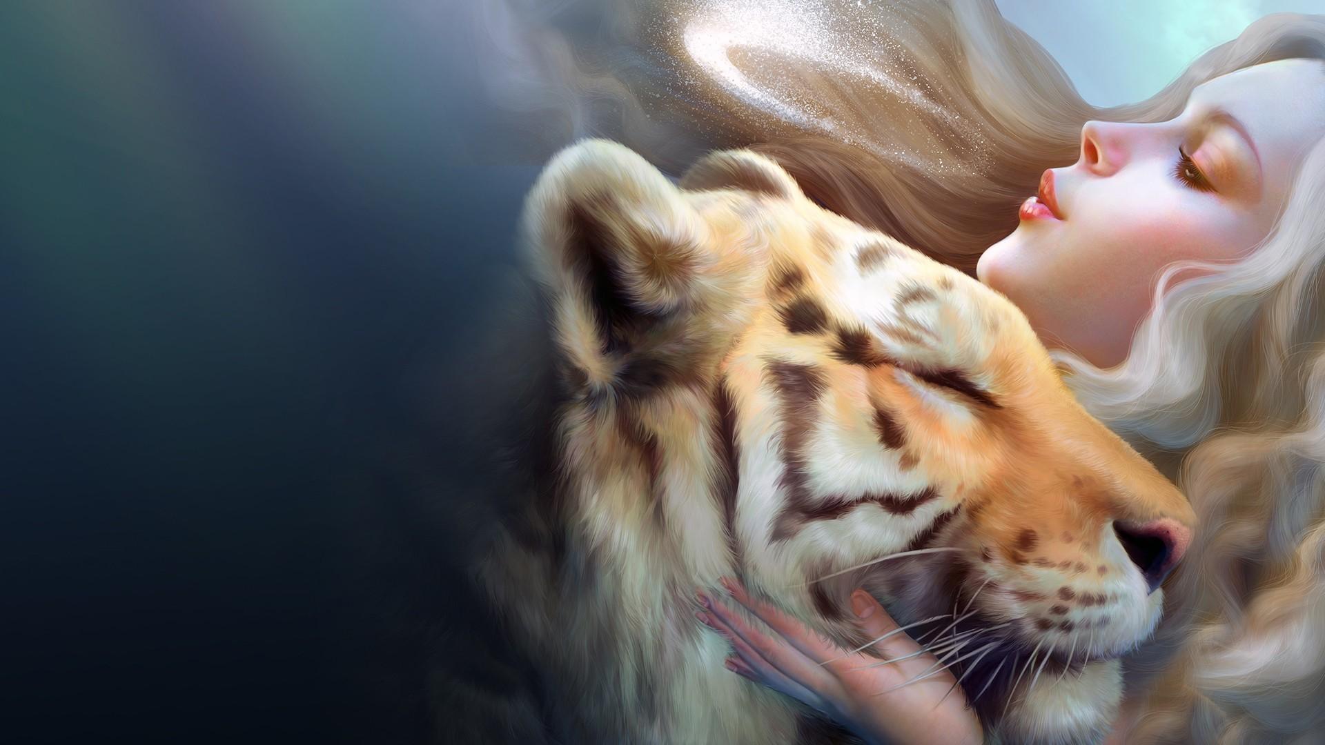 tiger wallpaper girl cute