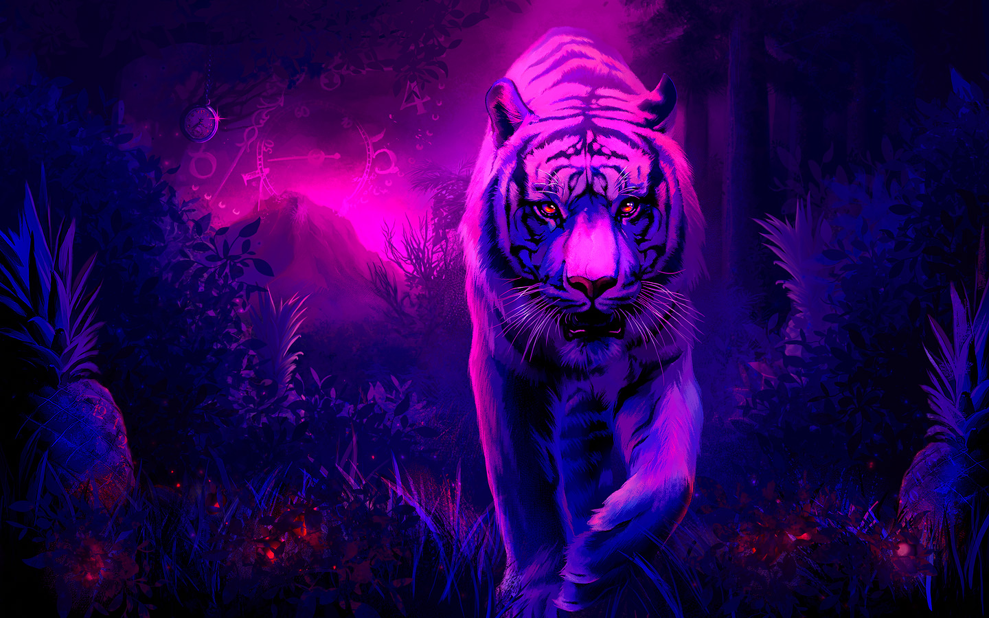 Tiger Wallpaper Purple - HD Desktop Wallpapers