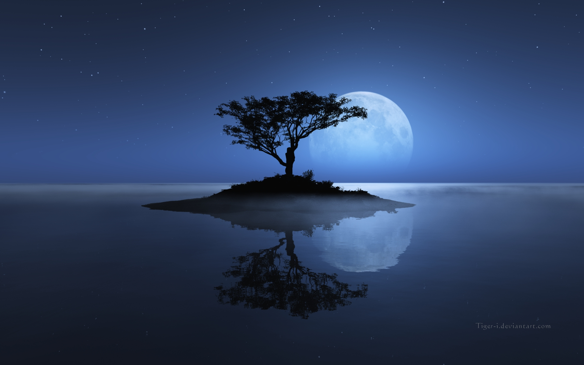trees wallpapers moon