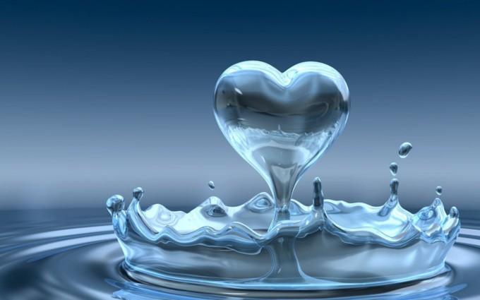 water wallpaper heart shape