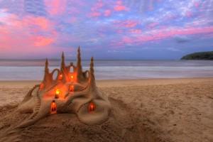 beach sandcastle wallpaper